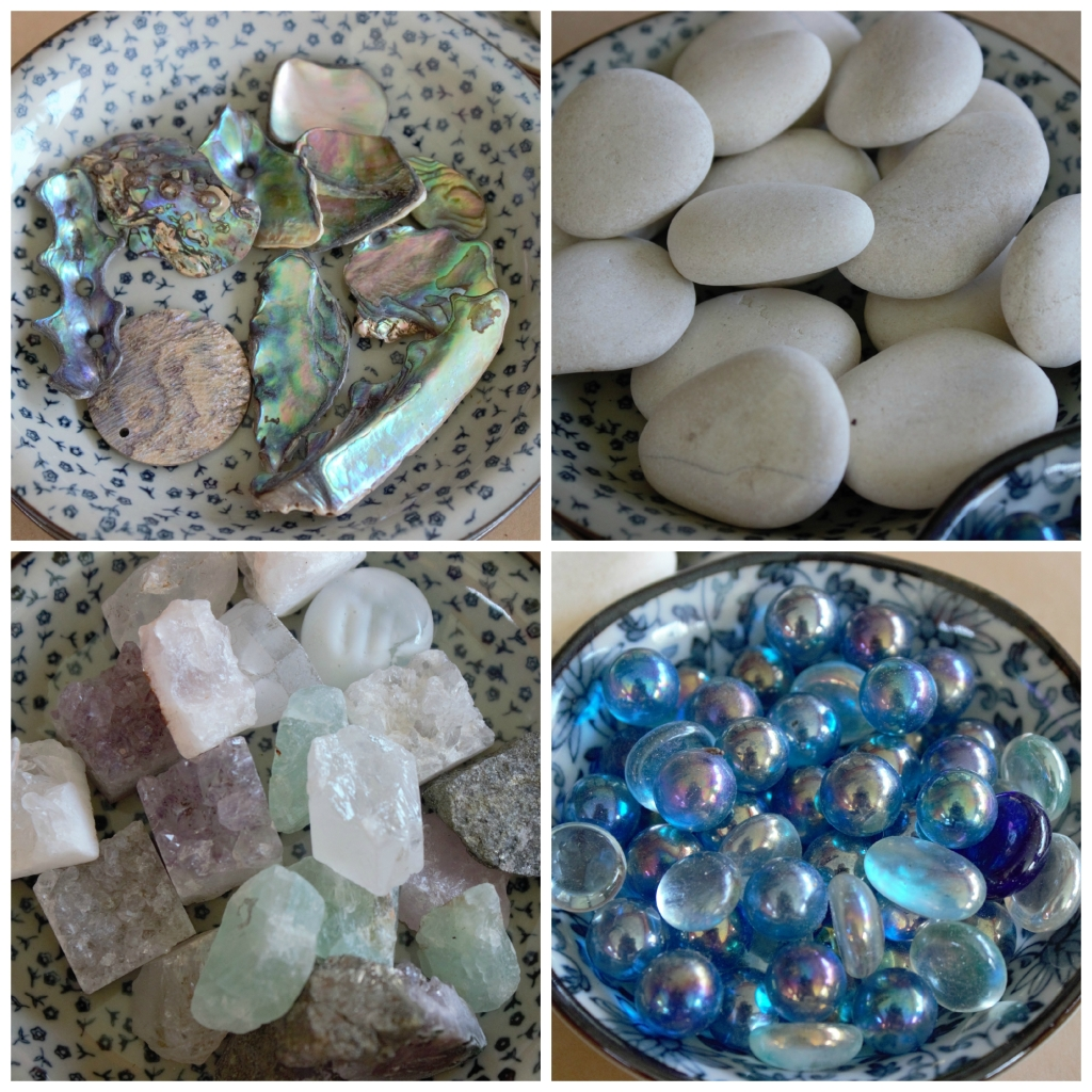 Decorate your fairy garden with shells, stones and crystals