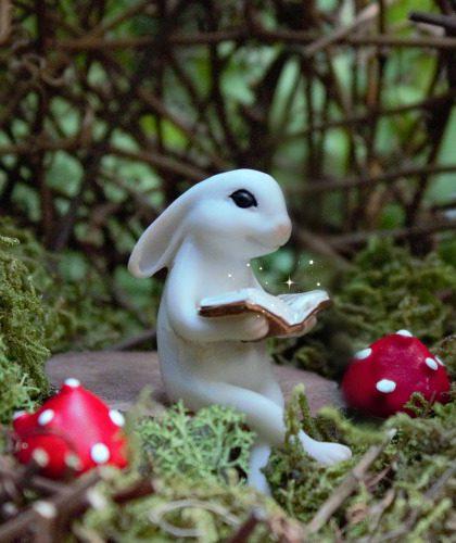 Reading Rabbit - Miniature Fairy Garden Bunny Ornament