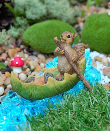 Miniature Squirrel & Acorn Canoe - Fairy Garden Ornament
