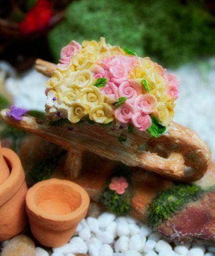 Miniature Flower Wheelbarrow - Fairy Garden Accessories