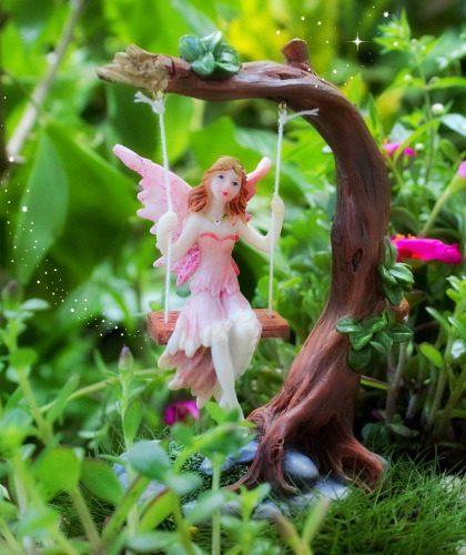 Pink Fairy on Swing - Garden Sparkle
