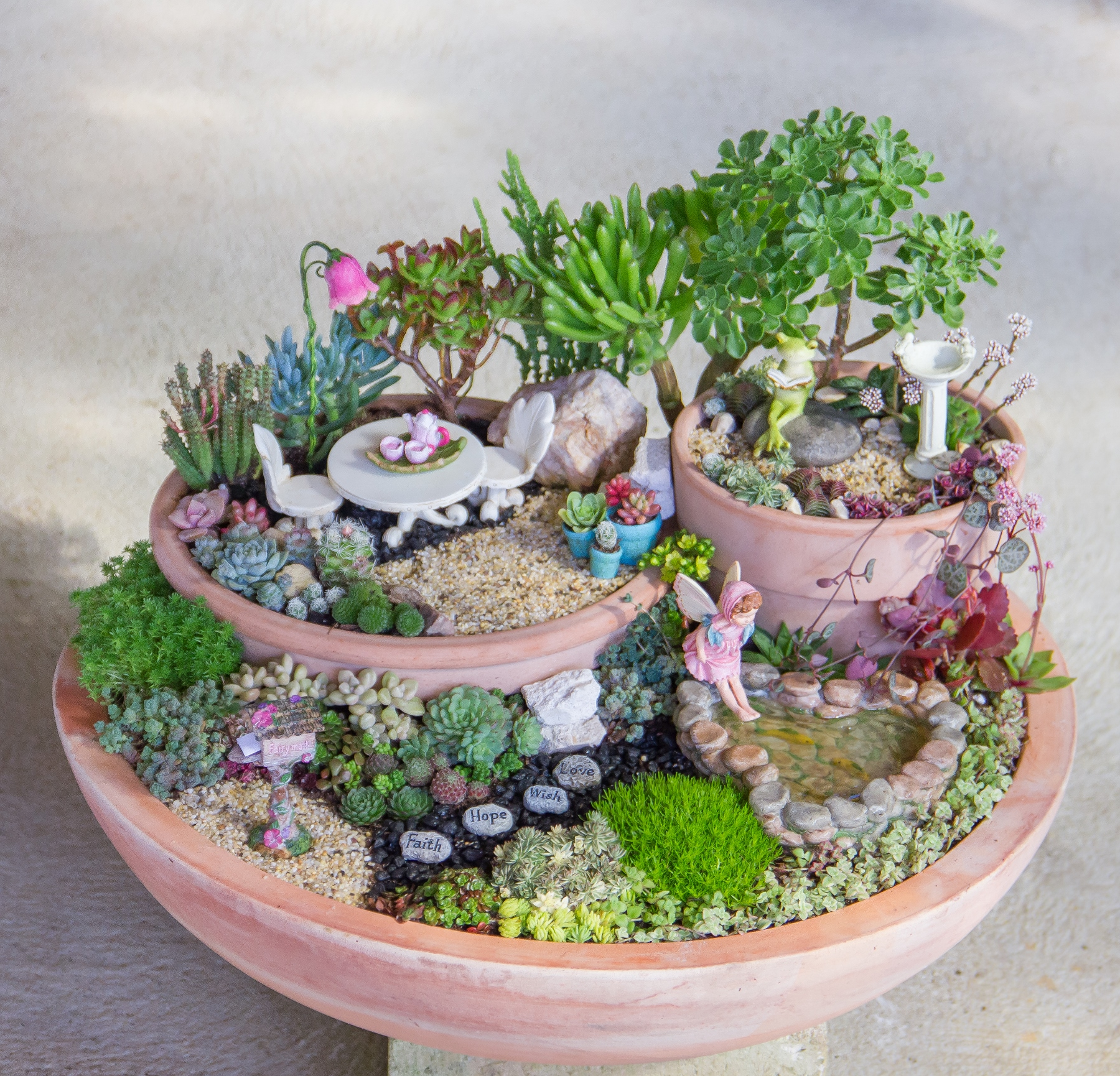 The Remainder Of The Fairy Garden Accessories Were Added To Complete The  Project.