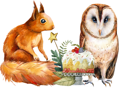 A squirrel and an owl enjoy a Christmas pudding