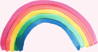 A rainbow painted in watercolour
